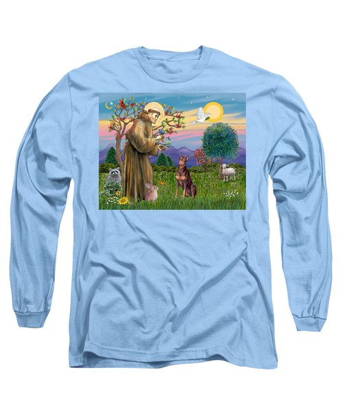 Saint Francis Blesses A Red Doberman Long Sleeve T-Shirt