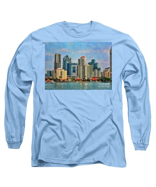 San Diego Skyline Long Sleeve T-Shirt by Peggy Hughes