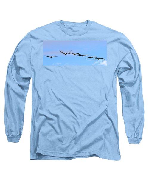 Sandhill Crane Flight Pattern Long Sleeve T-Shirt