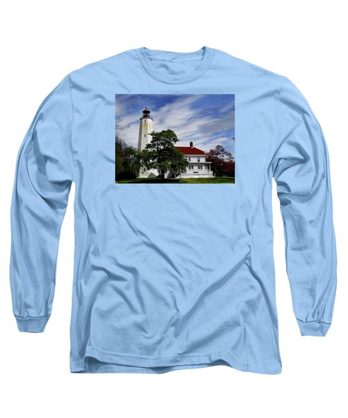 Sandy Hook Lighthouse Nj Long Sleeve T-Shirt by Skip Willits
