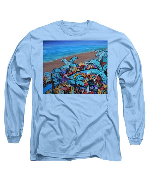 Long Sleeve T-Shirt featuring the painting Santa Barbara Beach by Barbara St Jean
