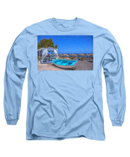 Santorini Beach Boat Grk4151 Long Sleeve T-Shirt