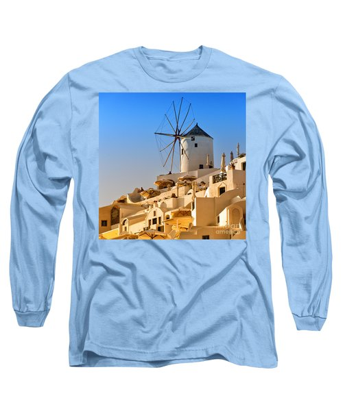 Santorini Windmill 05 Long Sleeve T-Shirt by Antony McAulay