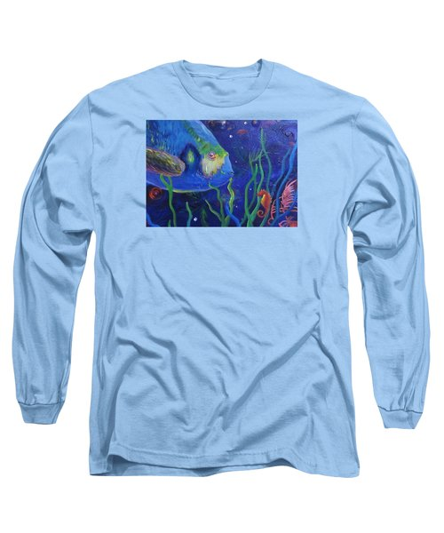 Sea Horse And Blue Fish Long Sleeve T-Shirt by Anne Marie Brown