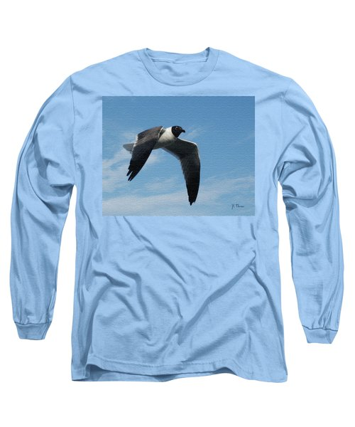 Long Sleeve T-Shirt featuring the photograph Seagull In Flight by James C Thomas