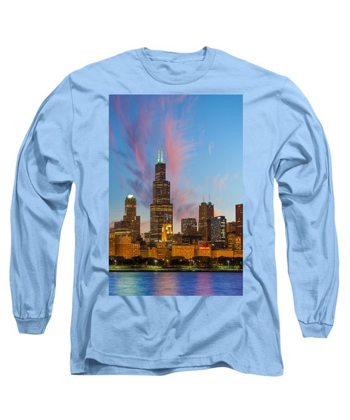 Long Sleeve T-Shirt featuring the photograph Sears Tower Sunset by Sebastian Musial