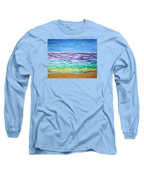 Long Sleeve T-Shirt featuring the painting Seashore Blue Sky by Stormm Bradshaw
