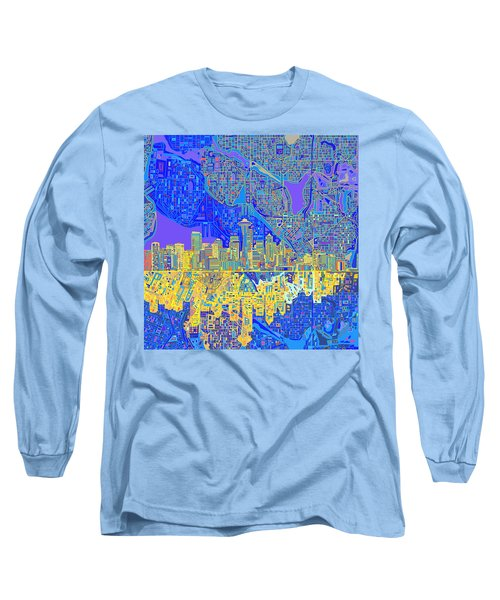 Seattle Skyline Abstract 6 Long Sleeve T-Shirt