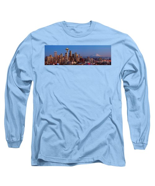 Seattle Winter Evening Panorama Long Sleeve T-Shirt