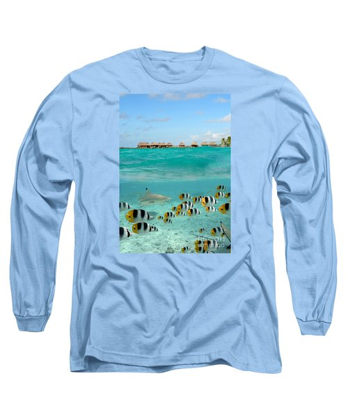 Over-under With Shark And Butterfly Fish At Bora Bora Long Sleeve T-Shirt by IPics Photography