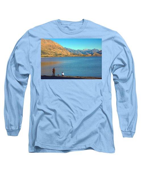 Long Sleeve T-Shirt featuring the photograph Shooting Ducks On Lake Wanaka by Stuart Litoff