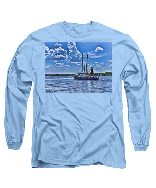 Shrimp Boat Heading To Sea Long Sleeve T-Shirt by Ludwig Keck