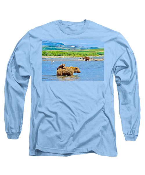 Six-month-old Cub Riding On Mom's Back To Cross Moraine River In Katmai National Preserve-alaska Long Sleeve T-Shirt