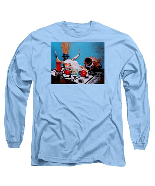 Long Sleeve T-Shirt featuring the painting Skull Still Life by M Diane Bonaparte