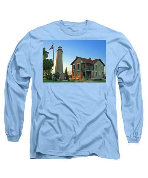 Long Sleeve T-Shirt featuring the photograph Southport Lighthouse On Simmons Island by Kay Novy