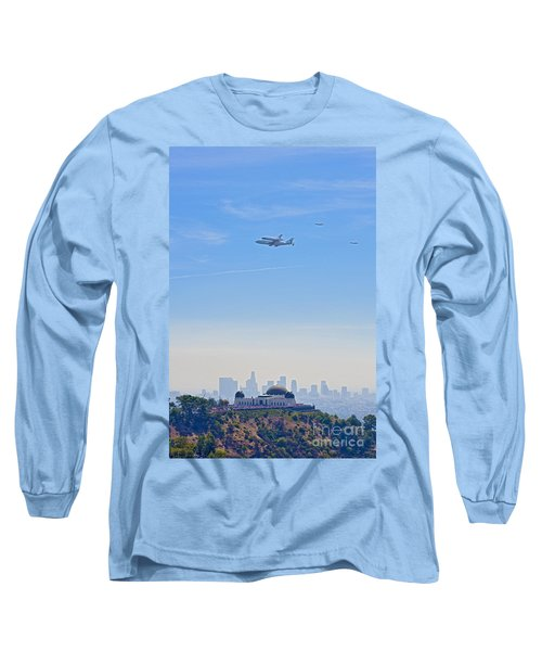 Space Shuttle Endeavour And Chase Planes Over The Griffith Observatory Long Sleeve T-Shirt