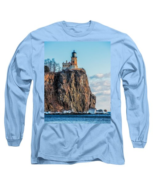 Split Rock Lighthouse In Winter Long Sleeve T-Shirt by Paul Freidlund