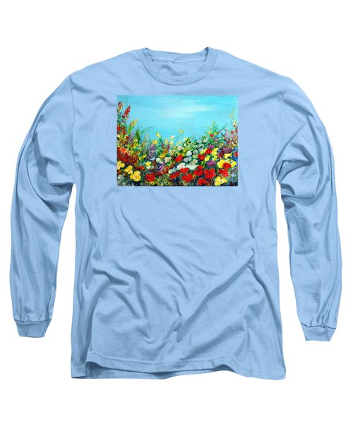 Long Sleeve T-Shirt featuring the painting Spring In The Garden by Teresa Wegrzyn