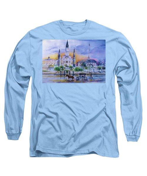St. Charles New Orleans Sunset Long Sleeve T-Shirt by Bernadette Krupa