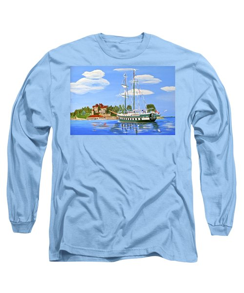 Long Sleeve T-Shirt featuring the painting St Lawrence Waterway 1000 Islands by Phyllis Kaltenbach