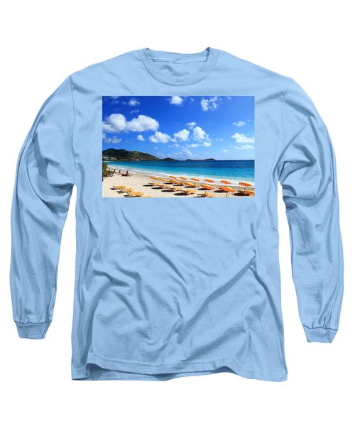 St. Maarten Calm Sea Long Sleeve T-Shirt by Catie Canetti