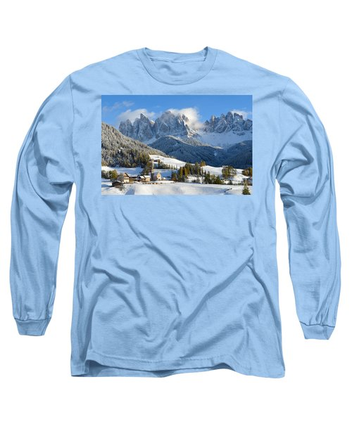 St. Magdalena Village In The Snow In Winter Long Sleeve T-Shirt