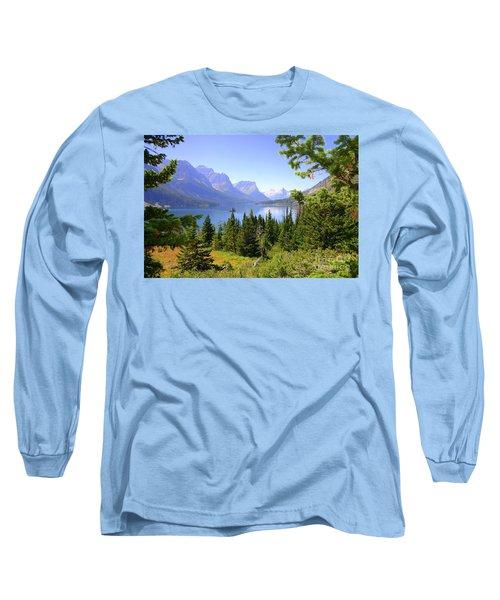 St. Mary Lake Long Sleeve T-Shirt by Bob Hislop