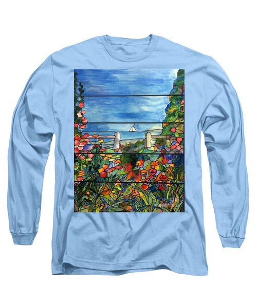 Stained Glass Tiffany Landscape Window With Sailboat Long Sleeve T-Shirt