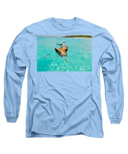 Staniel Cay Swimming Pig Seagull Fish Exumas Long Sleeve T-Shirt