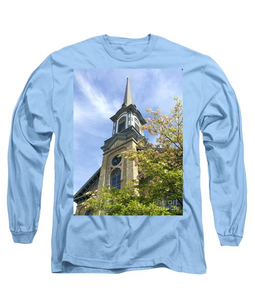 Long Sleeve T-Shirt featuring the photograph Steeple Church Arch Windows by Becky Lupe