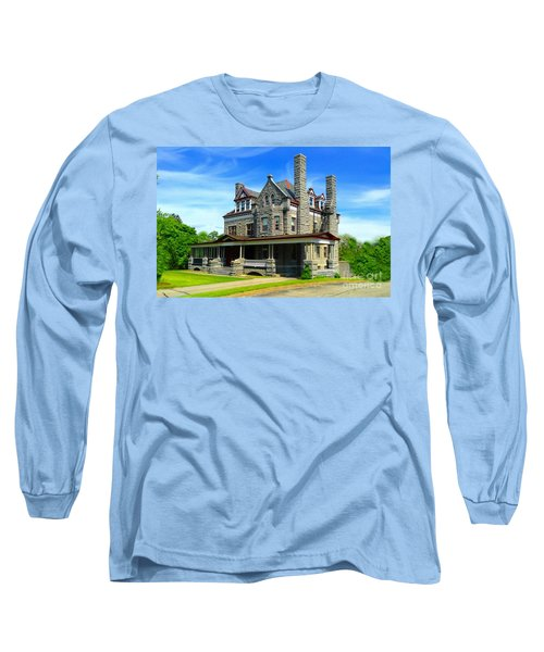 Long Sleeve T-Shirt featuring the photograph Stone Mansion Blue Sky by Becky Lupe
