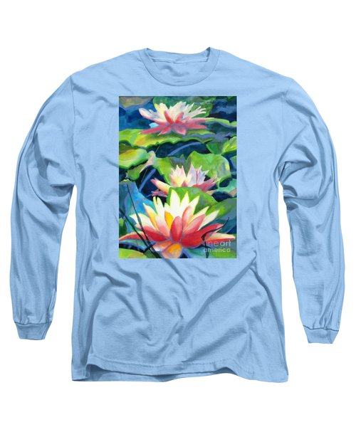 Styalized Lily Pads 3 Long Sleeve T-Shirt by Kathy Braud