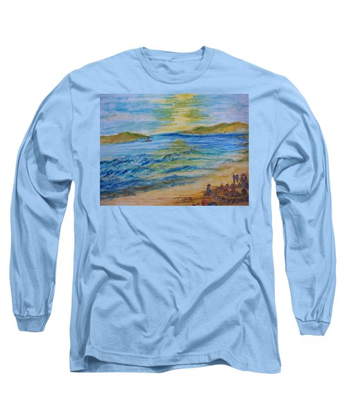 Long Sleeve T-Shirt featuring the painting Summer/ North Wales  by Teresa White