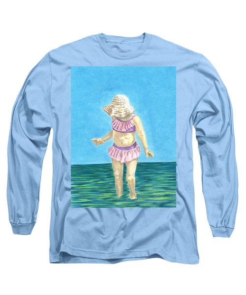 Long Sleeve T-Shirt featuring the drawing Summer by Troy Levesque