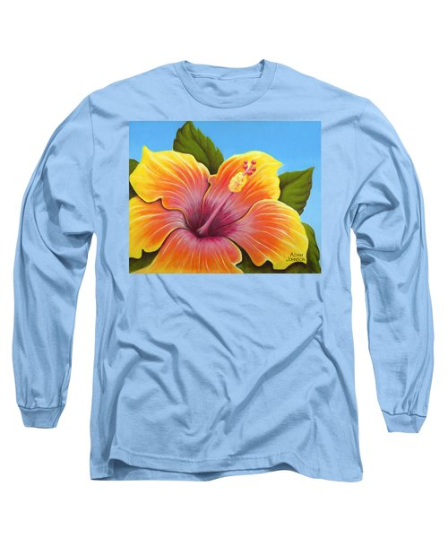 Sunburst Hibiscus Long Sleeve T-Shirt