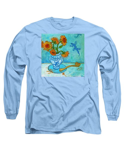 Long Sleeve T-Shirt featuring the painting Sunflowers And Lizards by Xueling Zou
