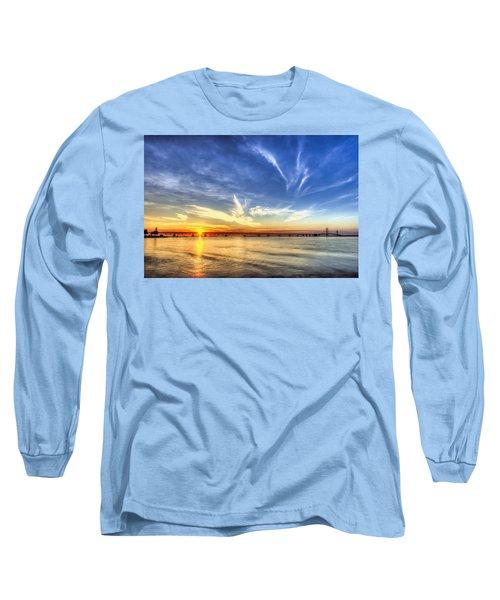 Sunset Mackinac Bridge Long Sleeve T-Shirt