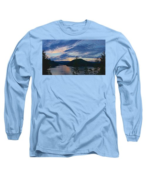 Sunset Pano - Watauga Lake Long Sleeve T-Shirt by Tom Culver