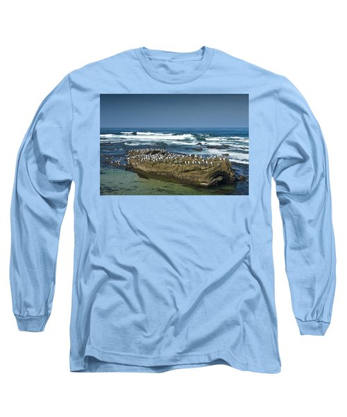 Surf Waves At La Jolla California With Gulls Perched On A Large Rock No. 0194 Long Sleeve T-Shirt