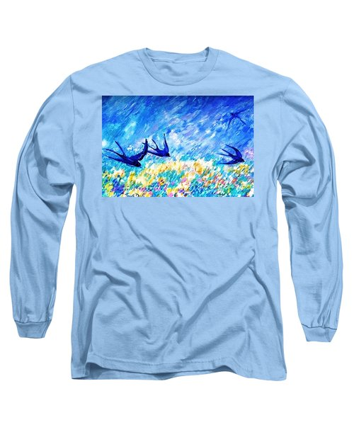 Long Sleeve T-Shirt featuring the painting Swallows In Summer by Trudi Doyle
