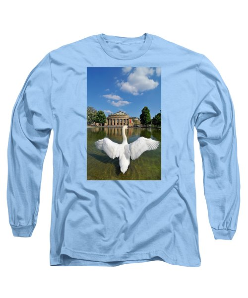 Swan Spreads Wings In Front Of State Theatre Stuttgart Germany Long Sleeve T-Shirt by Matthias Hauser