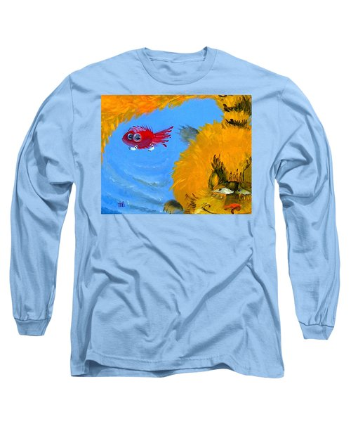 Long Sleeve T-Shirt featuring the painting Swimming Of A Yellow Cat by Marina Gnetetsky