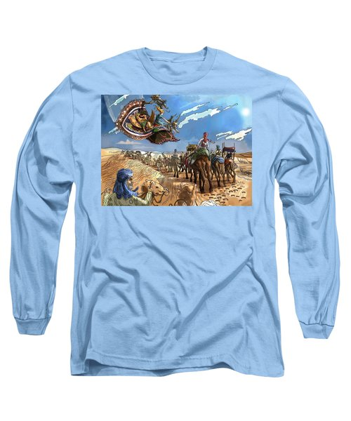 Long Sleeve T-Shirt featuring the painting Tammy And The Flying Carpet by Reynold Jay