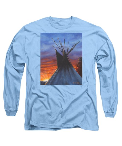 Long Sleeve T-Shirt featuring the painting Teepee At Sunset Part 2 by Kim Lockman