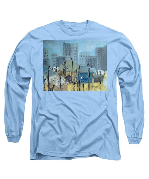 Long Sleeve T-Shirt featuring the painting Tent City Homeless by Judith Rhue