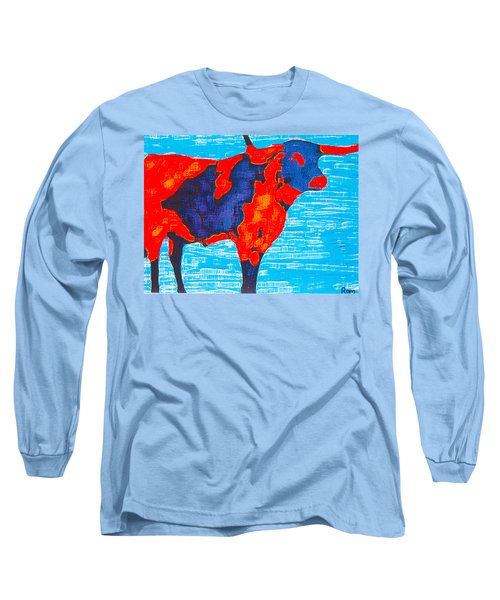 Texan Longhorn Long Sleeve T-Shirt by Robert Margetts