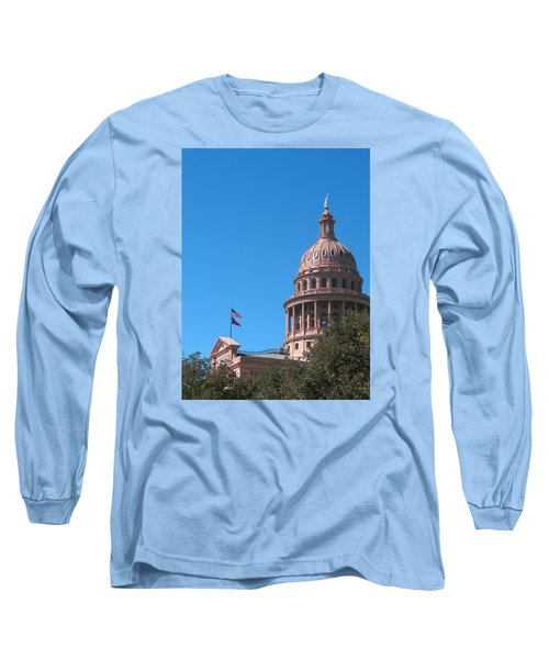 Texas State Capitol With Pediment Long Sleeve T-Shirt by Connie Fox