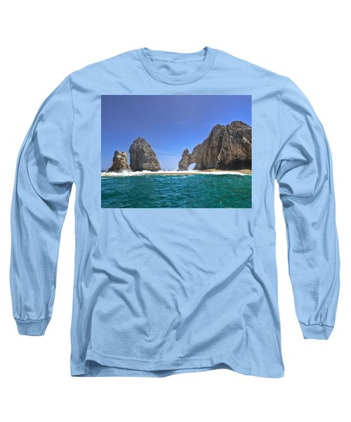 Long Sleeve T-Shirt featuring the photograph The Arch  Cabo San Lucas On A Low Tide by Eti Reid