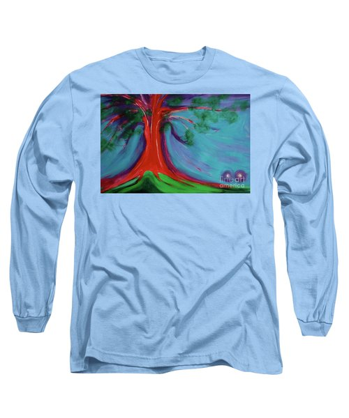 Long Sleeve T-Shirt featuring the painting The First Tree By Jrr by First Star Art