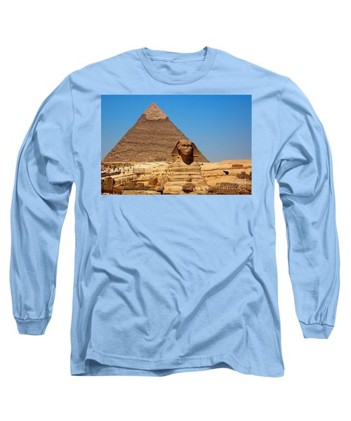 Long Sleeve T-Shirt featuring the photograph The Great Sphinx Of Giza And Pyramid Of Khafre by Joe  Ng
